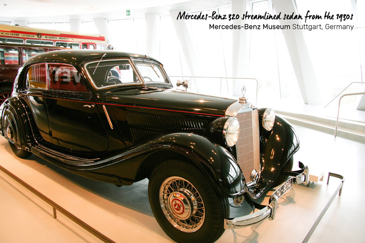 Mercedes-Benz 320 streamlined sedan from the 1930s, on display in the Mercedes-Benz Museum in Stuttgart, Germany