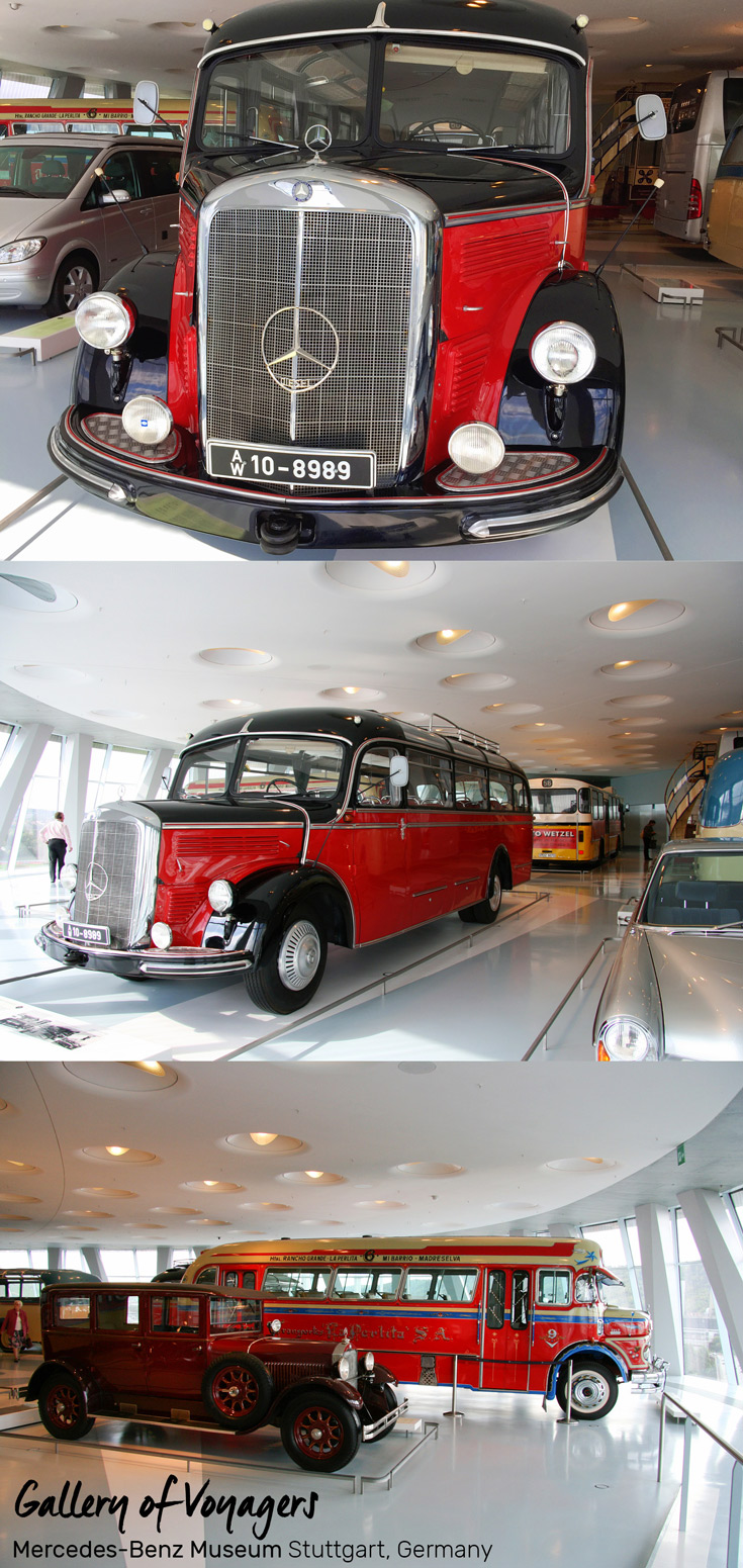 O 3500 Touring Mercedes Bus on display in the Gallery of Voyagers at the Mercedes-Benz Museum in Stuttgart, Germany