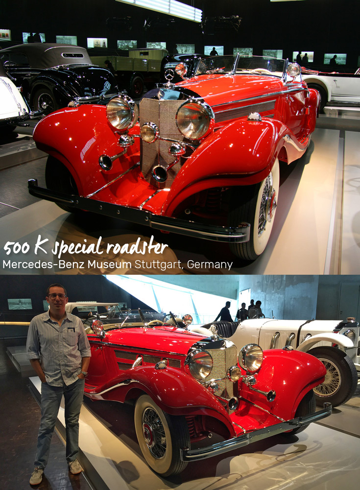 The Mercedes 500 K Special Roadster, one of the most expensive cars of the 1930s in the Mercedes-Benz Museum in Stuttgart, Germany