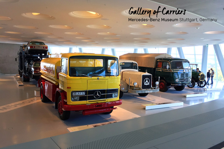 Gallery of Carriers with trucks, car transporters and a mobile post office all at the Mercedes-Benz Museum in Stuttgart, Germany