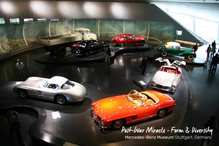 Aerial view of the Legends 4 Platform Post-war Miracle - Form and Diversity at the Mercedes-Benz Museum in Stuttgart, Germany