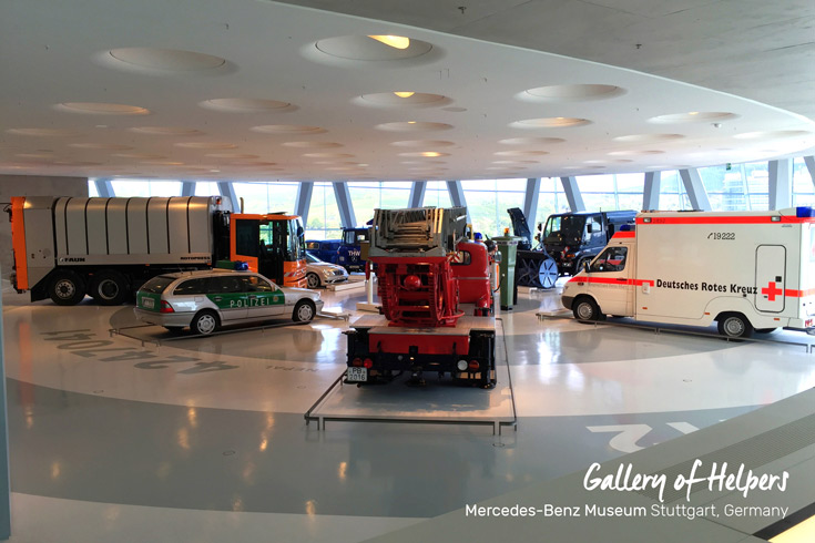 Collection 3, the Gallery of Helpers with police cars, fire trucks, and ambulance vehicles at the Mercedes-Benz Museum in Stuttgart, Germany