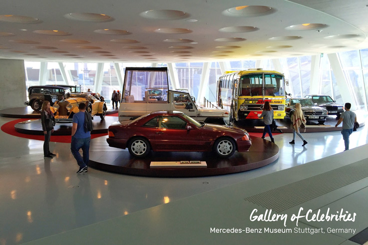 Collection 4, Gallery of Celebrities with the popemobile, Princess Diana's car, and an SUV from Jurassic Park at the Mercedes-Benz Museum in Stuttgart, Germany