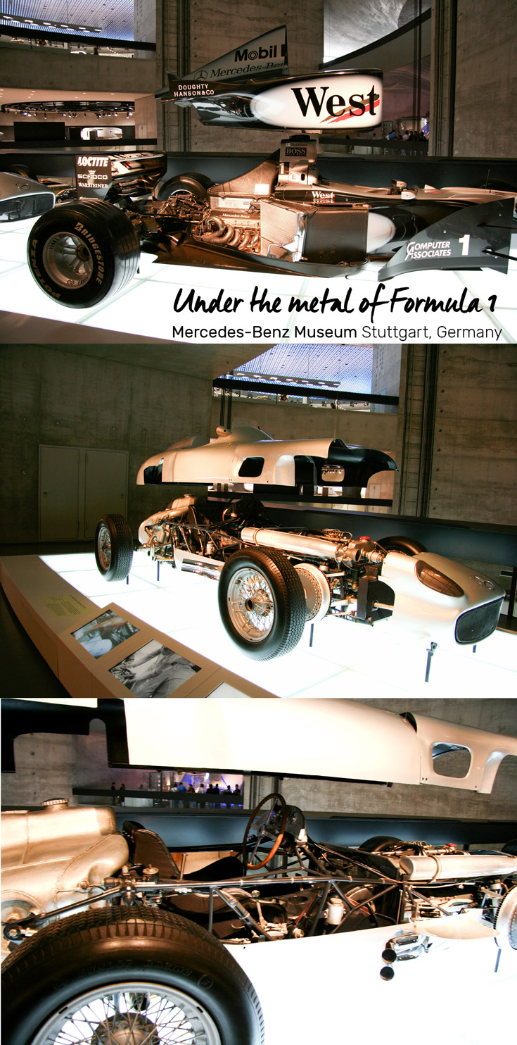 Under the metal of Formula 1 exhibit at the Mercedes-Benz Museum in Stuttgart, Germany