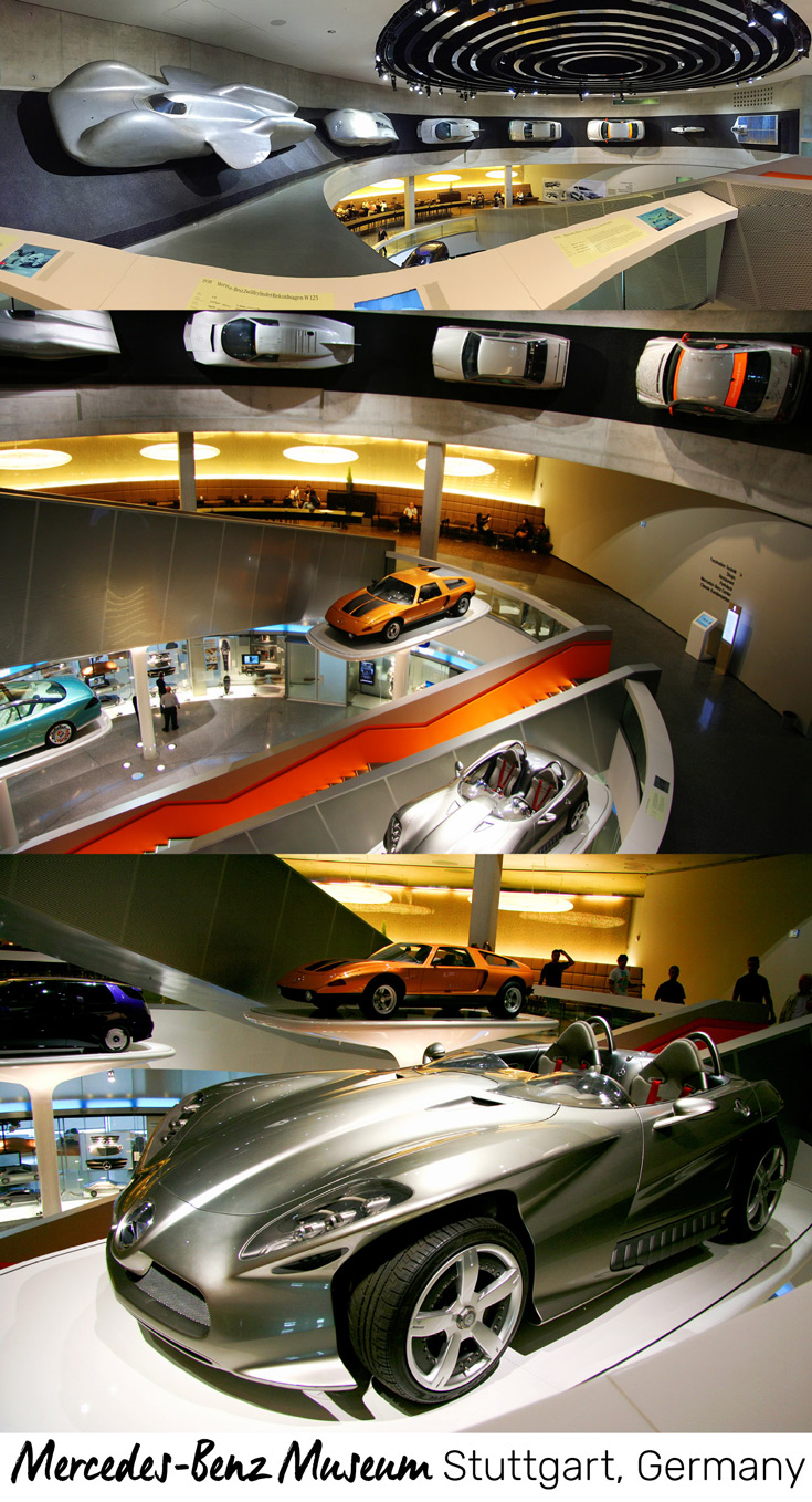 On your way down to the Cafébar at the Mercedes-Benz Museum in Stuttgart, Germany