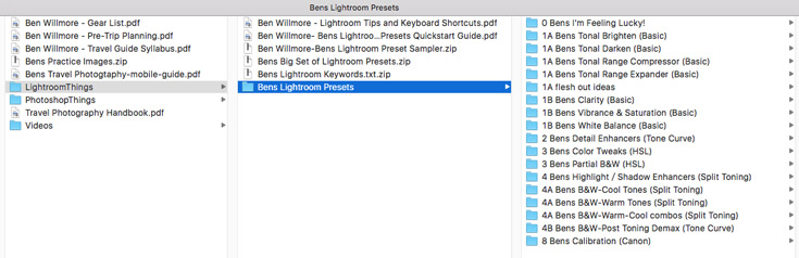 When you purchase the class, you get a gigantic set of Ben's Lightroom presets