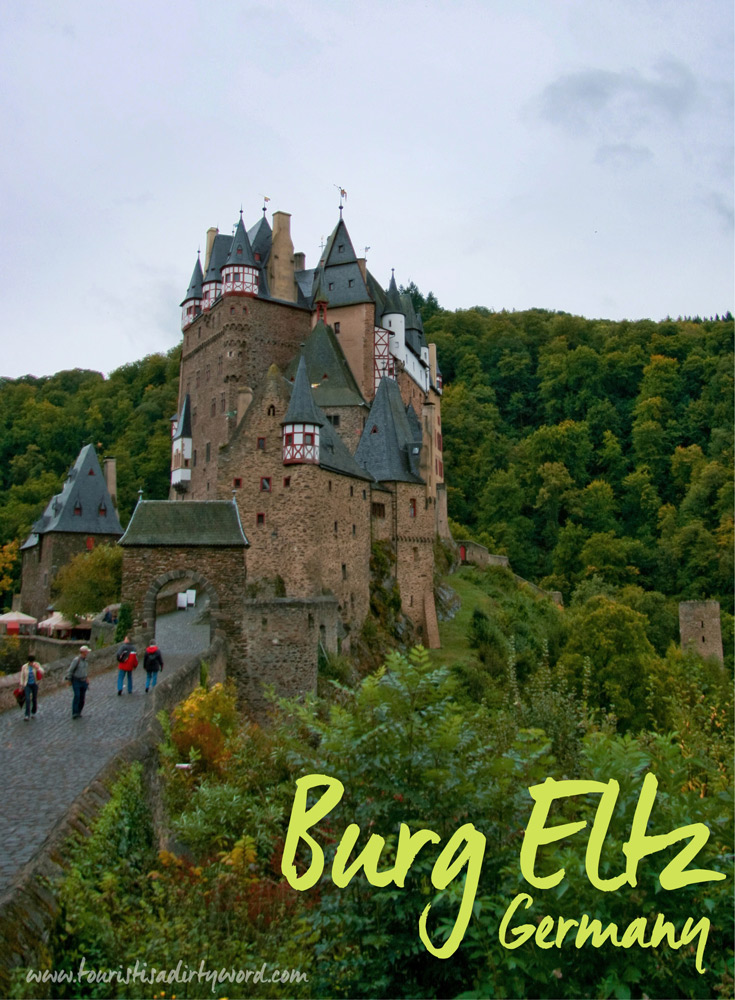 Front entrance of Burg Eltz, medieval castle near Trier, Germany.