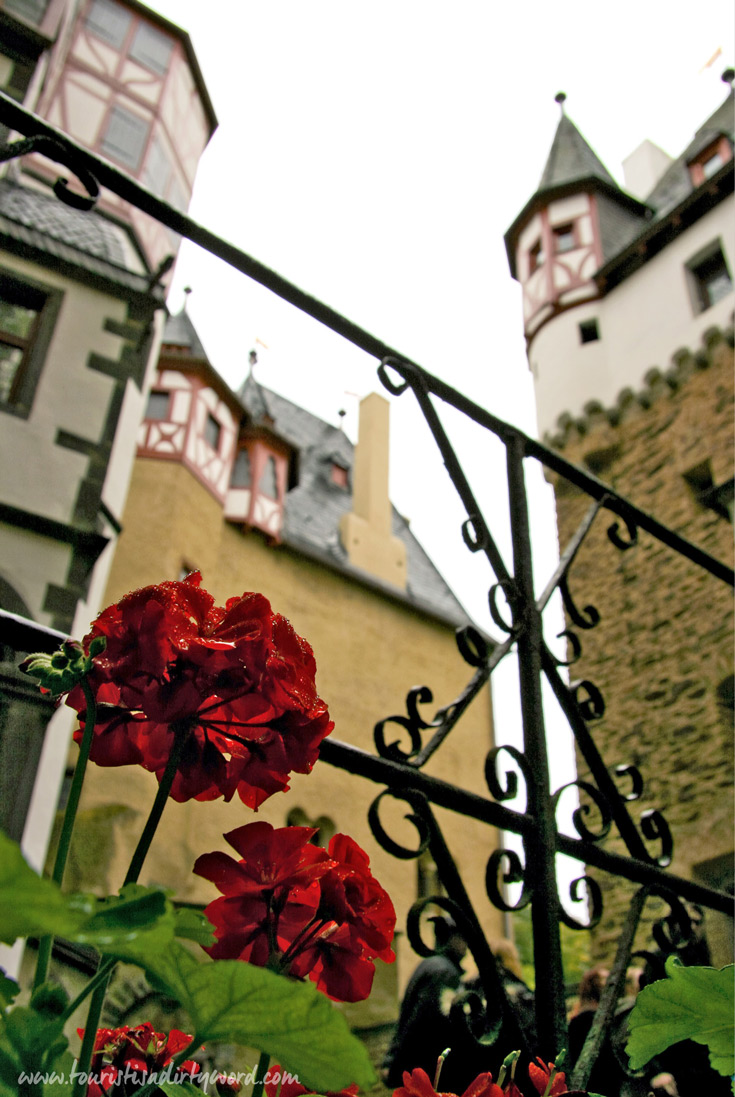 Burg Eltz inner courtyard geraniums with dew