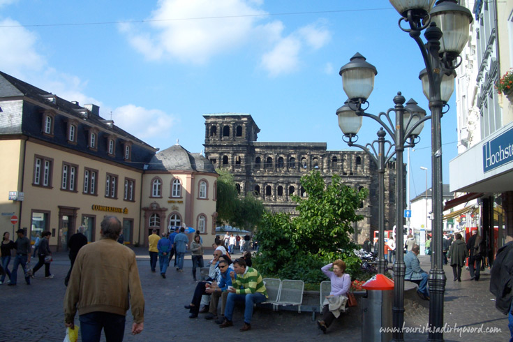 View of the Porta Nigra, Germany's Best Preserved Roman Gate, from the Market