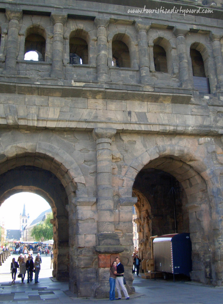 In the inner courtyard of the Porta Nigra, Germany's Best Preserved Roman Gate