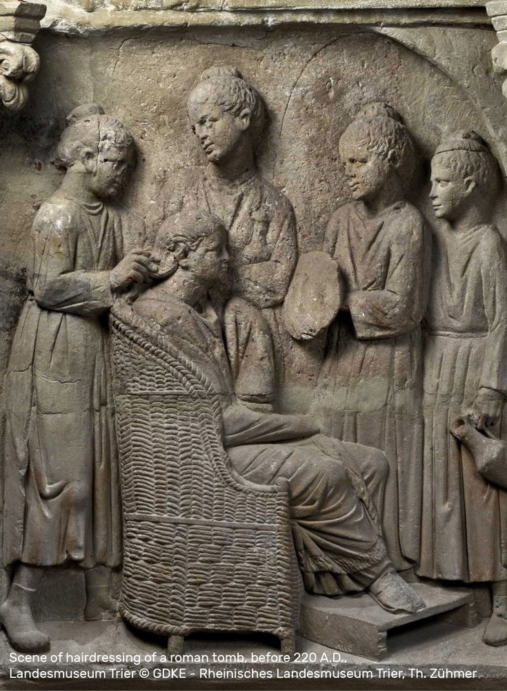 Scene of hairdressing of a roman tomb, before 220 A.D., • Landesmuseum Trier © GDKE - Rheinisches Landesmuseum Trier, Th. Zühmer