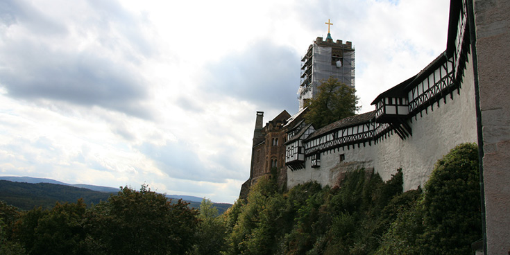 Wartburg is a medieval hilltop castle