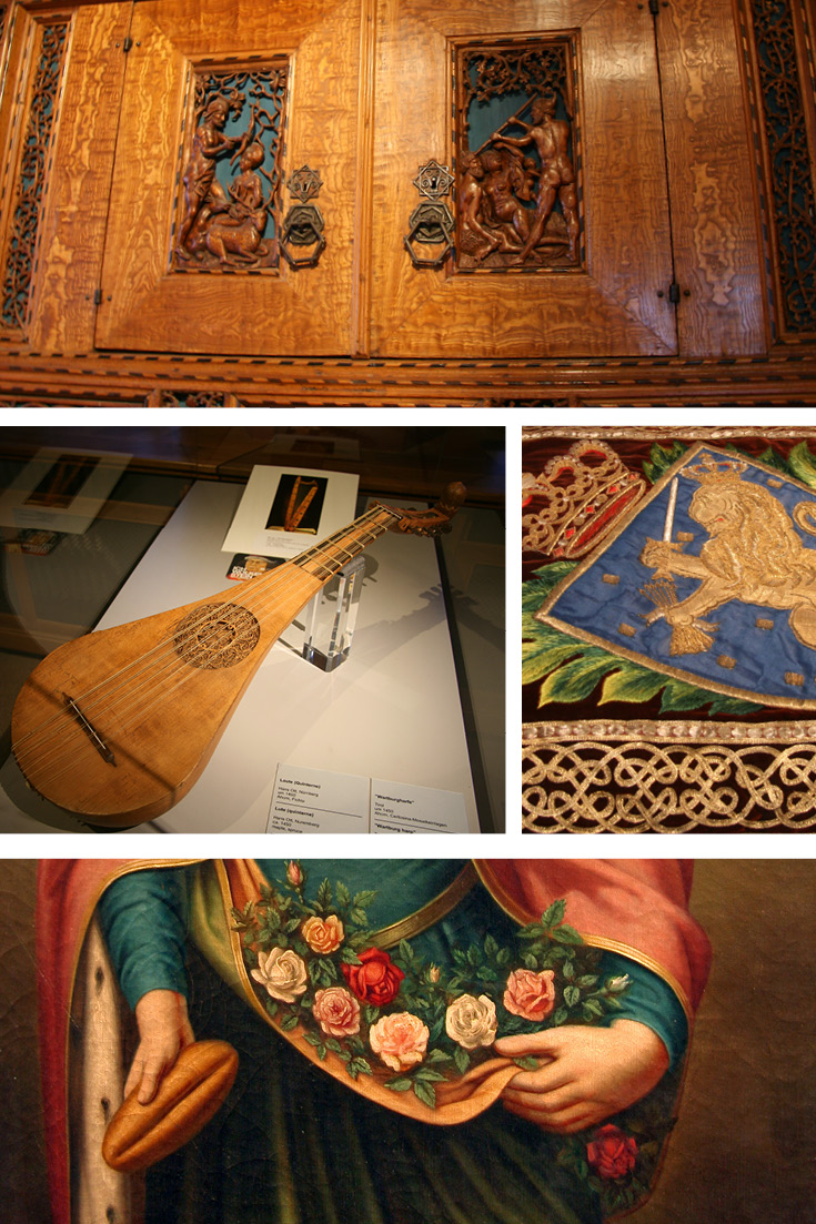 Top: Dürer cupboard c. 1515 | Left: Lute from 1450 | Exhibits at the Wartburg Art Collection